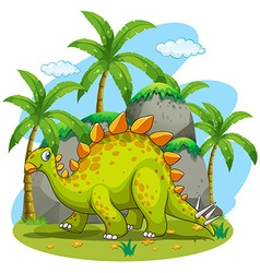 Green dinosaur walking in the park vector