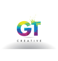 Gt g t colorful letter origami triangles design vector