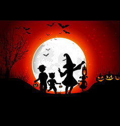 Halloween background little girls with pumpkins on vector