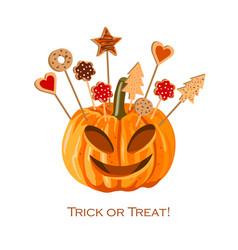 halloween pumpkin with biscuits for children vector image