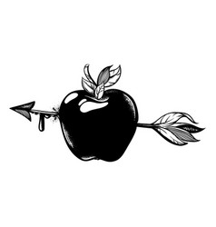 Hand drawn apple with arrow tattoo artwork vector