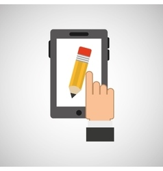 hand hold icon smartphone and pencil design flat vector image