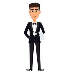 Handsome waiter wearing a professional uniform vector