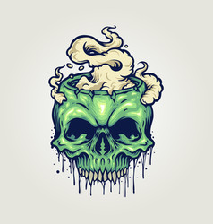 head zombie skull cannabis smoke vector image