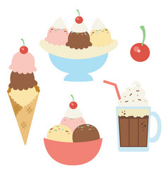 Ice cream sundaes with cherry vector