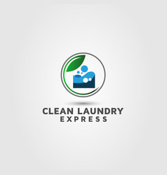 Laundry express dry cleaners logo design vector