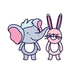 little elephant and rabbit cartoon character vector image