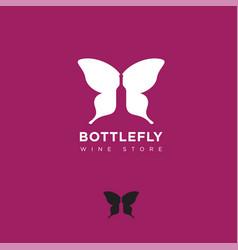 logo bottlefly wine butterfly wings silhouette vector image