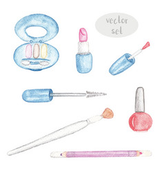 makeup watercolor set isolated vector image