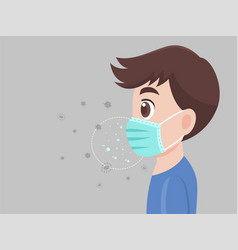 Man wearing a surgical protective medical mask vector