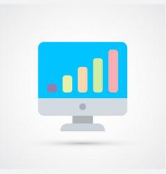 monitor graph trendy symbol trendy colored vector image