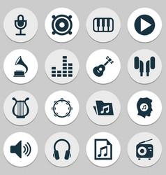 Multimedia icons set collection of phonograph vector