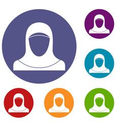 muslim women wearing hijab icons set vector image