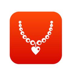 necklace icon digital red vector image