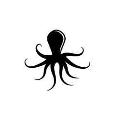 Octopus ocean animal kraken silhouette flat icon vector