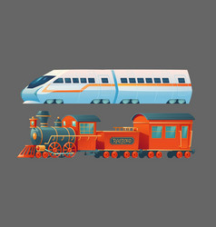 Old and modern trains railroad commuter transport vector