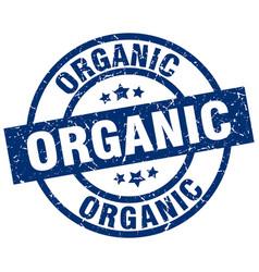 Organic blue round grunge stamp vector