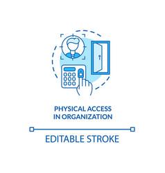 Physical access in organization concept icon vector