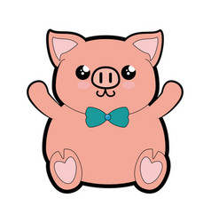 pig kawaii cartoon vector image