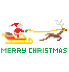 Pixel art christmas santa and sled vector