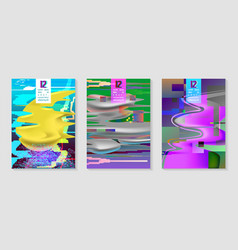 Poster covers with glitch effect and fluid shapes vector