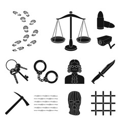 prison and the criminal black icons in set vector image