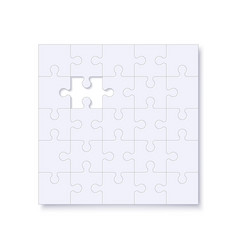 puzzles template with square grid and shadow vector image