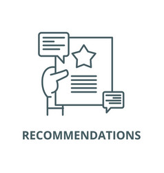 Recommendations line icon linear concept vector