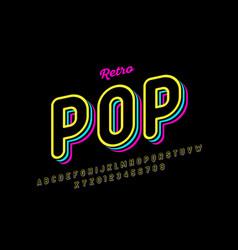 Retro pop art style font vector
