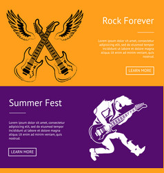 Rock forever and summer fest collection of posters vector