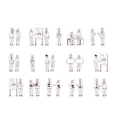 set businesspeople in different situations vector image
