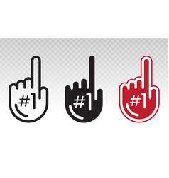 Set number 1 one fan hand glove with finger vector