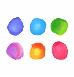 set of rainbow watercolor circles stains vector image