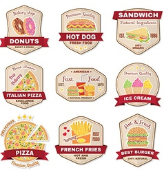 Set of vintage fast food badge banner or logo vector