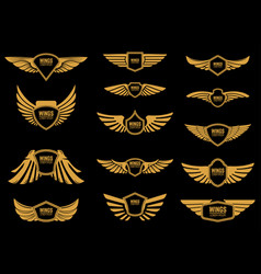 Set wings icons in golden style design vector