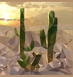 Several cacti on background sunset in vector