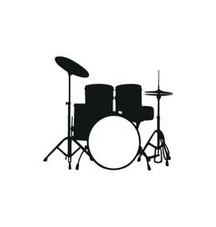 Silhouette drum set vector