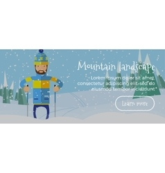 Ski web banner Person skiing flat style Winter vector image vector image