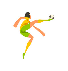 soccer player in green and yellow uniform kicking vector image