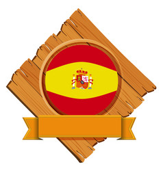 spain flag on wooden board vector image