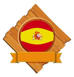 Spain flag on wooden board vector