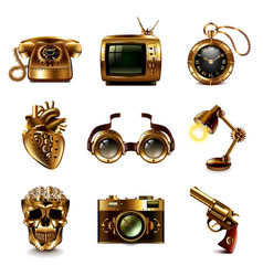 steampunk icons set vector image