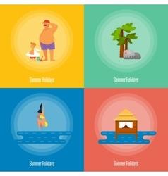 Summer Holidays Banner Set Beach activities vector