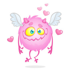 sweet and cute flying monster cartoon vector image