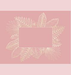 tender frame of golden tropical leaves on pink vector image