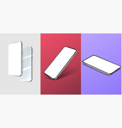 three mobile phone layouts in different positions vector image