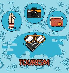 tourism flat concept icons vector image