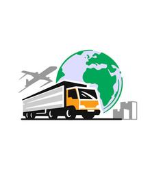 transport truck emblem logistic delivery or vector image