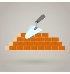 Trowel and brick wall icon building design vector