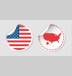 Usa sticker with flag and map america label round vector